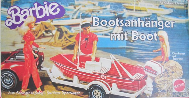 Barbie BOAT TRAILER & BOAT Playset - Bootsanhanger Mit Boot (1979 Mattel Germany)