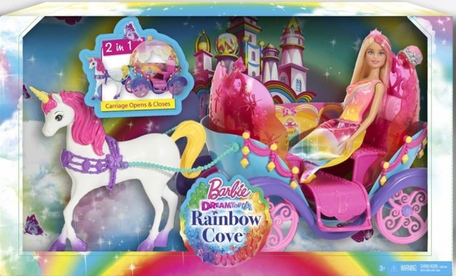 Barbie DreamTop A Rainbow Cove Princess and Carriage NRFB