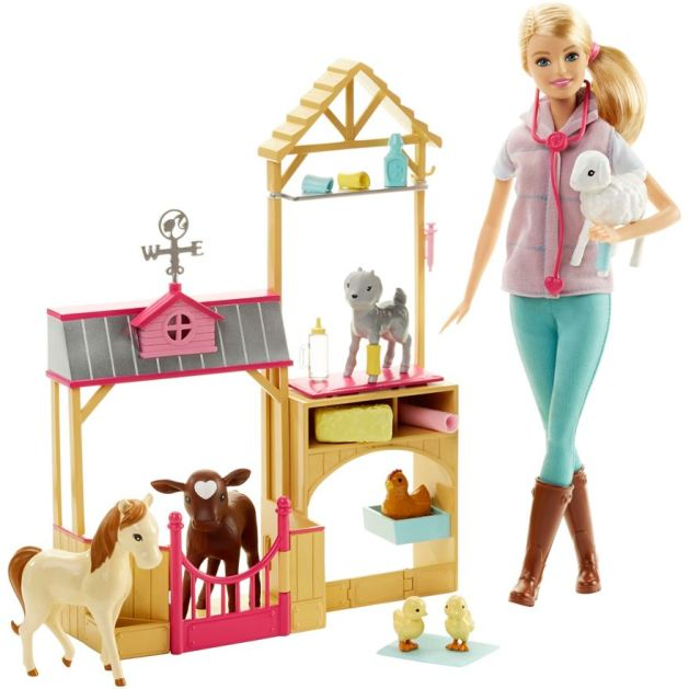 Barbie Farm Vet Doll and Playset fl