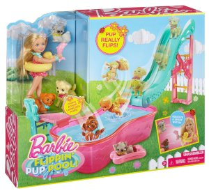 Barbie Flippin' Pup Pool and Chelsea Doll Playset n