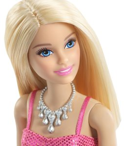 Barbie Glitz Doll, Pink Dress face