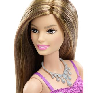 Barbie Glitz Doll Purple Dress face