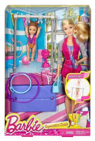 Barbie Gymnastic Coach Dolls & Playset nrfb