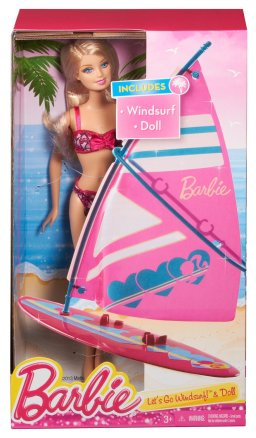 Barbie On-The-Go Beach Doll and Windsurfer Set NRFB