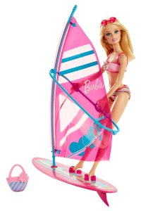 Barbie On-The-Go Beach Doll and Windsurfer Set