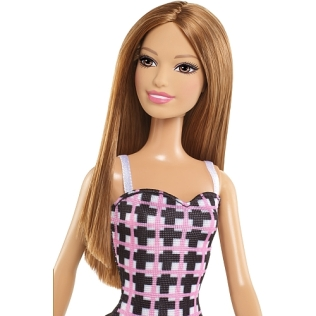 Barbie - Pink and Black Striped Sundress face