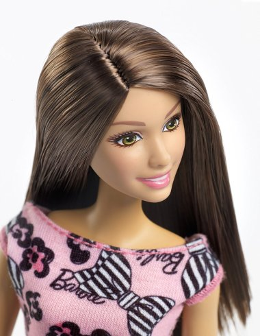 Barbie Pink-Tastic Doll, Bow Art On Light Pink Dress face
