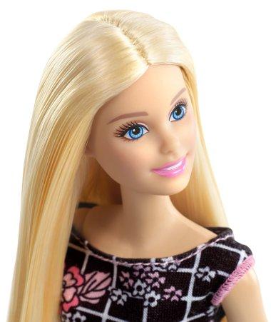 Barbie Pink-Tastic Doll, Floral Art On Black Dress face