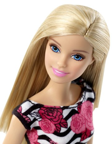 Barbie Pink-Tastic Doll, Rose Art On Black & White Stripes Dress face