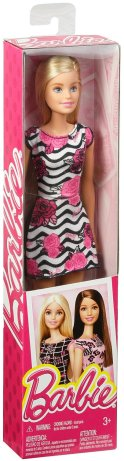 Barbie Pink-Tastic Doll, Rose Art On Black & White Stripes Dress nrfb