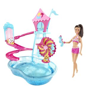 Barbie Puppy Water Park Nicki Doll Playset fl