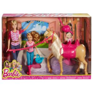2016 Barbie Sister Moments Riding Lesson Barbie and Stacie Dolls and Horse.