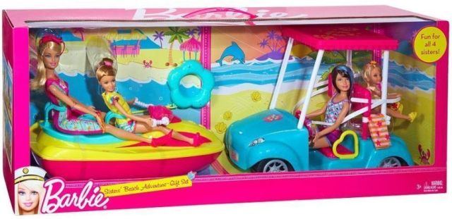 Barbie Sisters Beach Adventure Gift Set Jet Ski Golf Cart Dolls