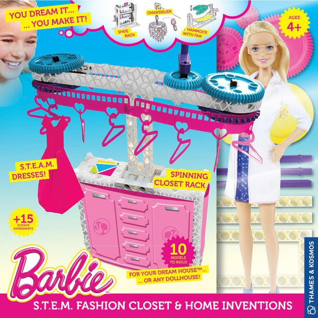 Barbie STEM Fashion Closet Rack and Home Inventions with Barbie Doll