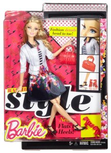 Barbie Style Doll, White Jacket & Black Floral Print Skirt nrfb