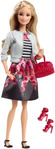 Barbie Style Doll, White Jacket & Black Floral Print Skirt