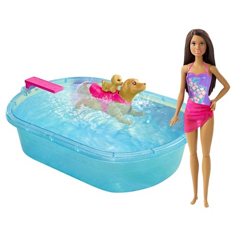 Barbie Swimmin' Pup Pool brown hair