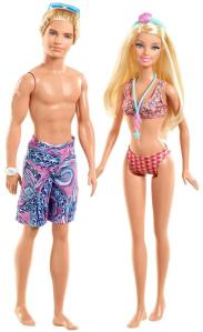 Beach, Barbie and Ken Dolls