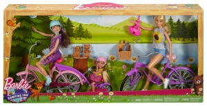 2017 Barbie Camping Fun Barbie, skipper and Chelsea Dolls, Bikes & Accessories