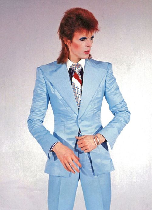 David Bowie Doll with Mullet Cut Wearing Light Blue Life on Mars Costume.