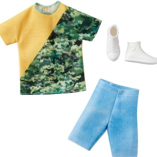 Ken Complete Look Color Blocked Shirt and Jean Shorts Fashion Pack