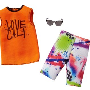 Ken Complete Look Love Cali Top and Spray Paint Shorts Fashion Pack