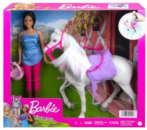 BARBIE FAMILY DOLL AND HORSE BRUNETTE NRFB