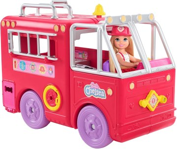 Chelsea doll with her fire engine featuring rolling wheels Playset 2