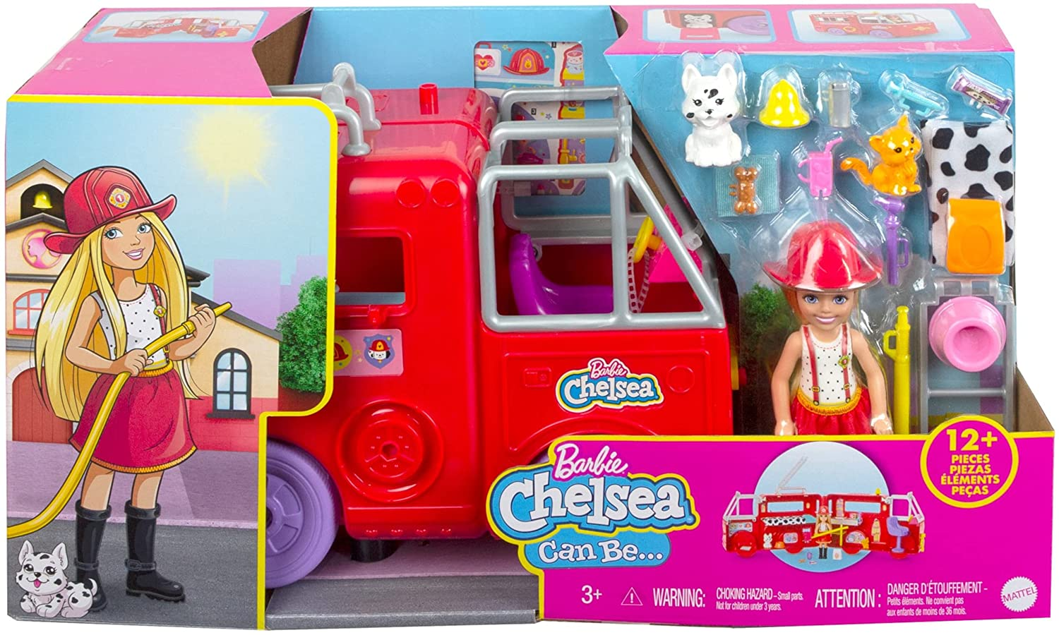 Chelsea doll with her fire engine featuring rolling wheels Playset NRFB