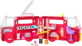 Chelsea doll with her fire engine featuring rolling wheels Playset